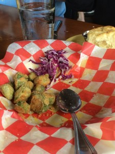 The fried okra, which as you can see, is almost gone.