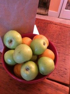 These tart, July apples are going into a cold curry soup. Yum!