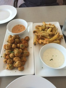 Fried okra and pickles at Firefly